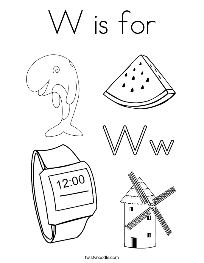 letter w coloring pages - w is for 3 coloring page