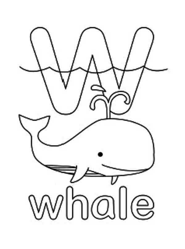 letter w coloring pages - w is for whale coloring page
