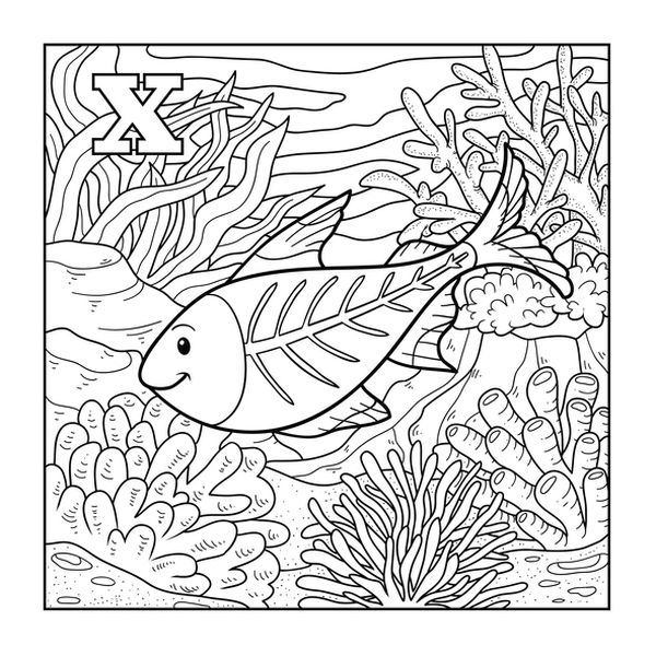 letter x coloring pages - coloring book x ray fish colorless illustration letter x