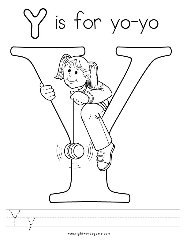 letter y coloring pages - alphabet coloring pages