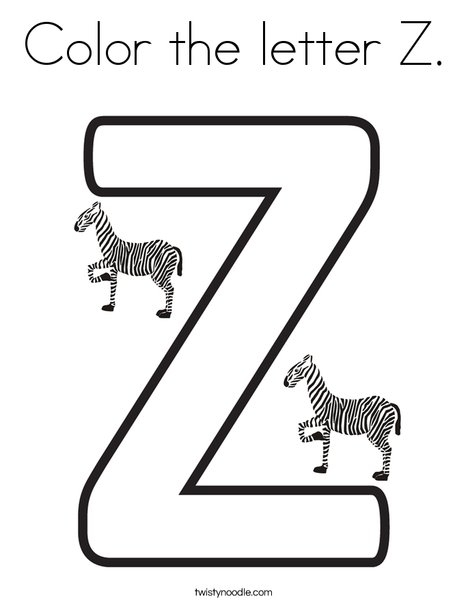 letter z coloring page - color the letter z 2 coloring page