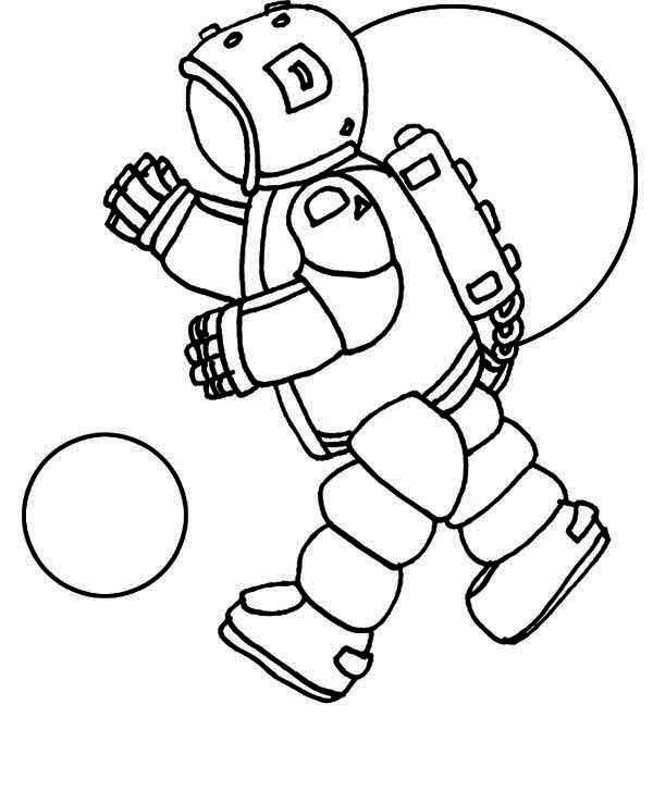 light bulb coloring page - an astronaut doing a space walk on the orbit coloring page