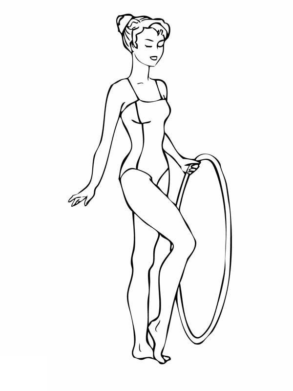 light bulb coloring page - gymnastics routine with a hoop gymnastic coloring page
