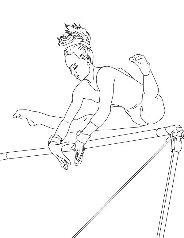light bulb coloring page - perfect score of high bar in gymnastic coloring page