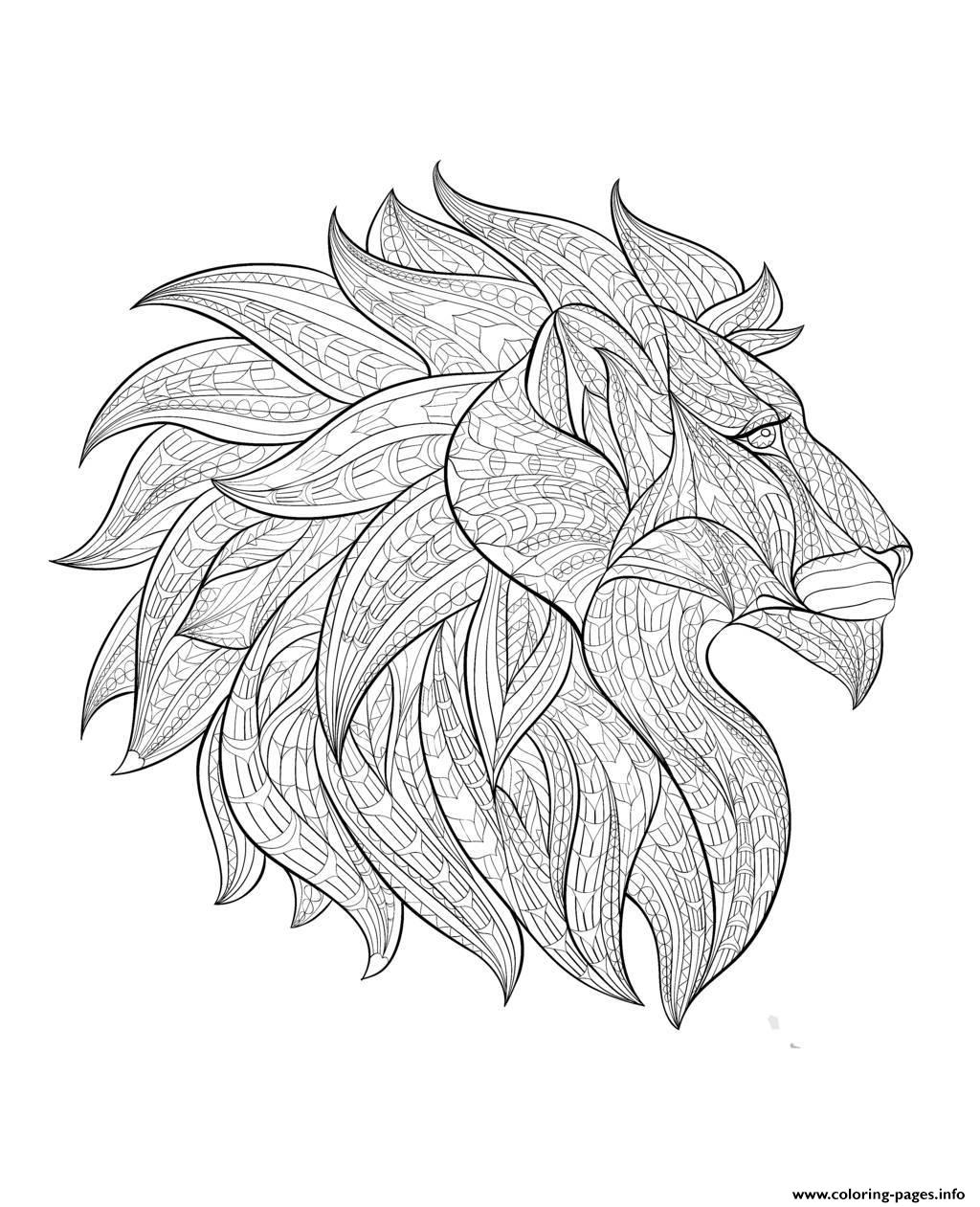 lion coloring pages for adults - adult africa lion head profile printable coloring pages book 3608