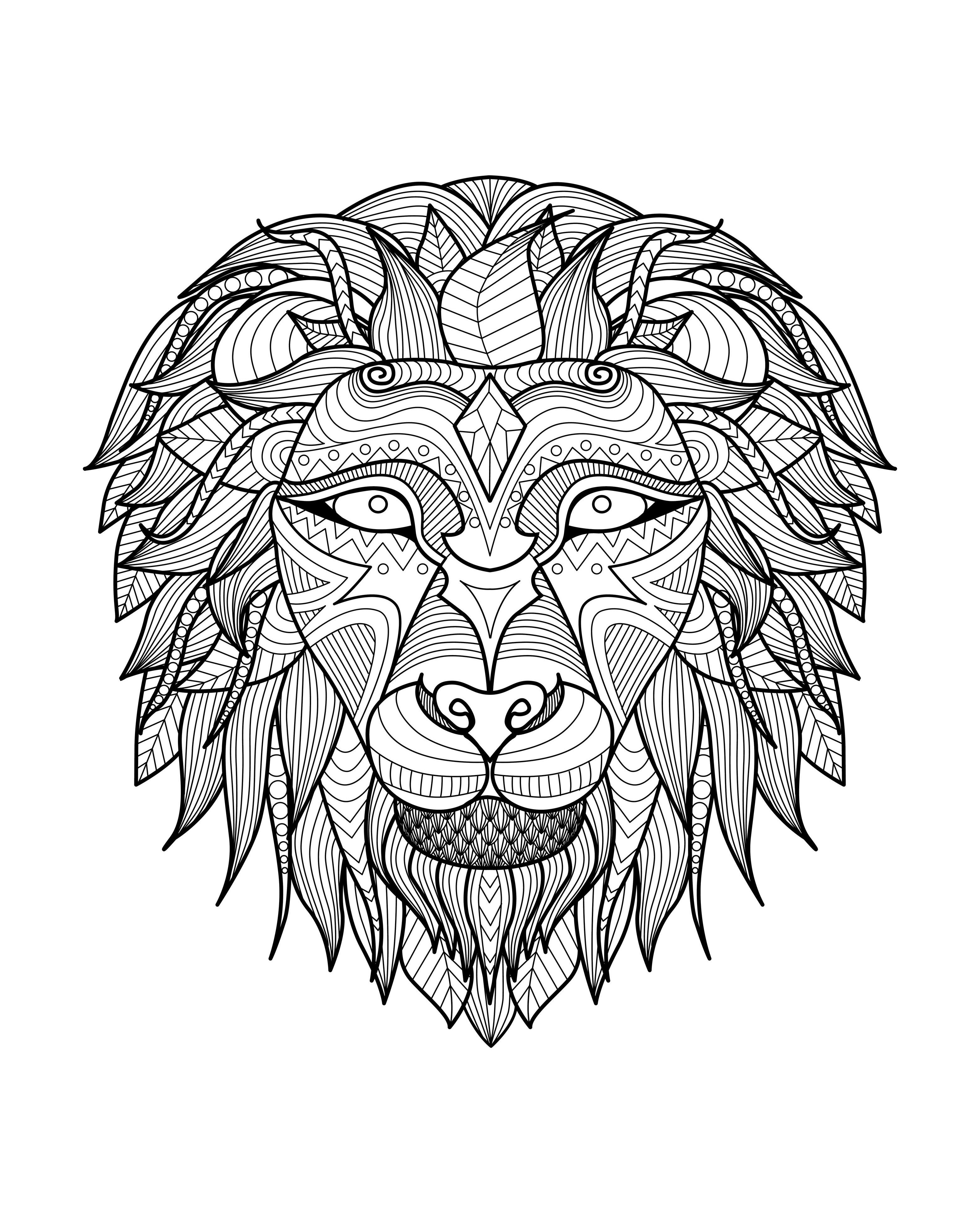 lion coloring pages for adults -