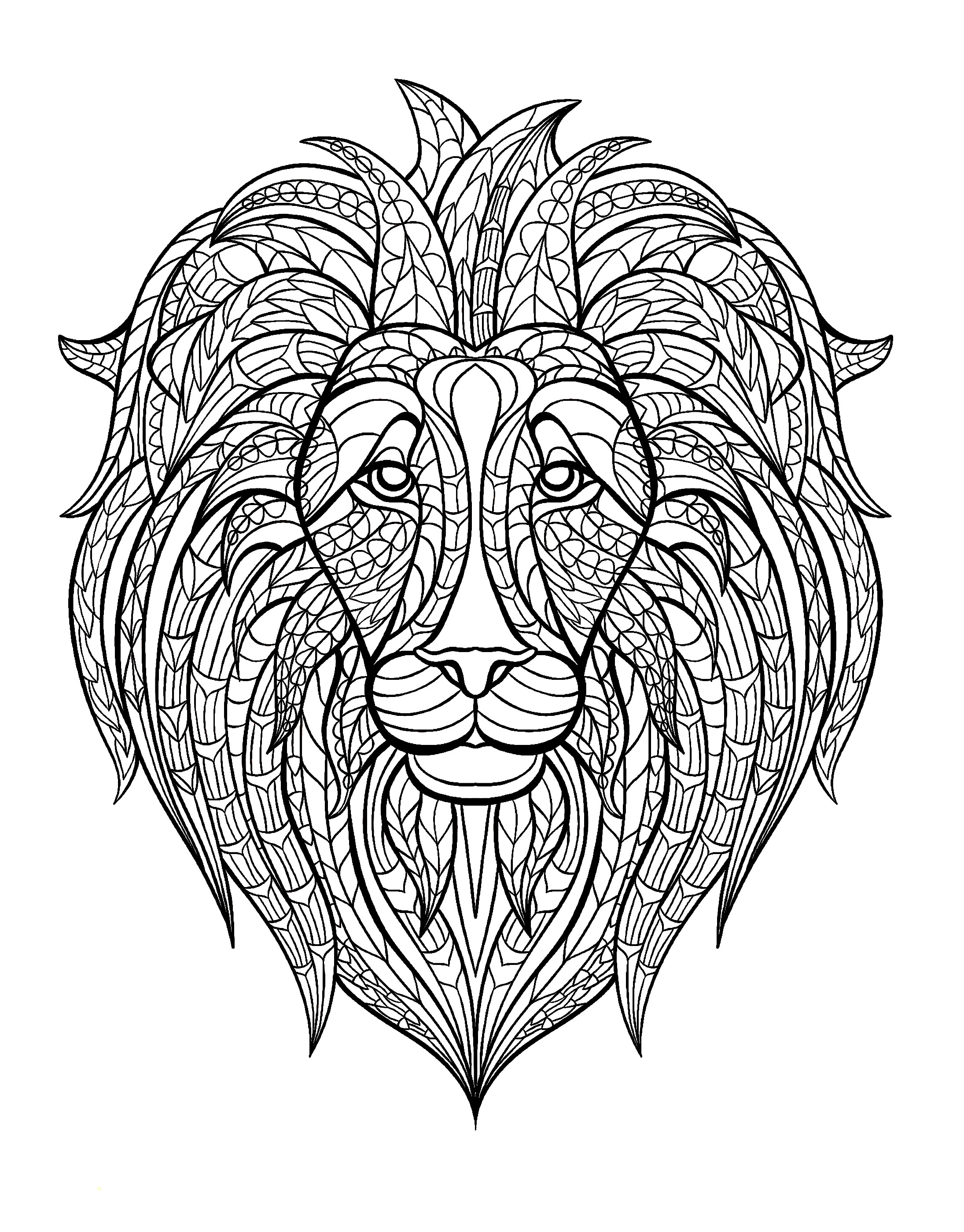 lion coloring pages for adults - q=adult face