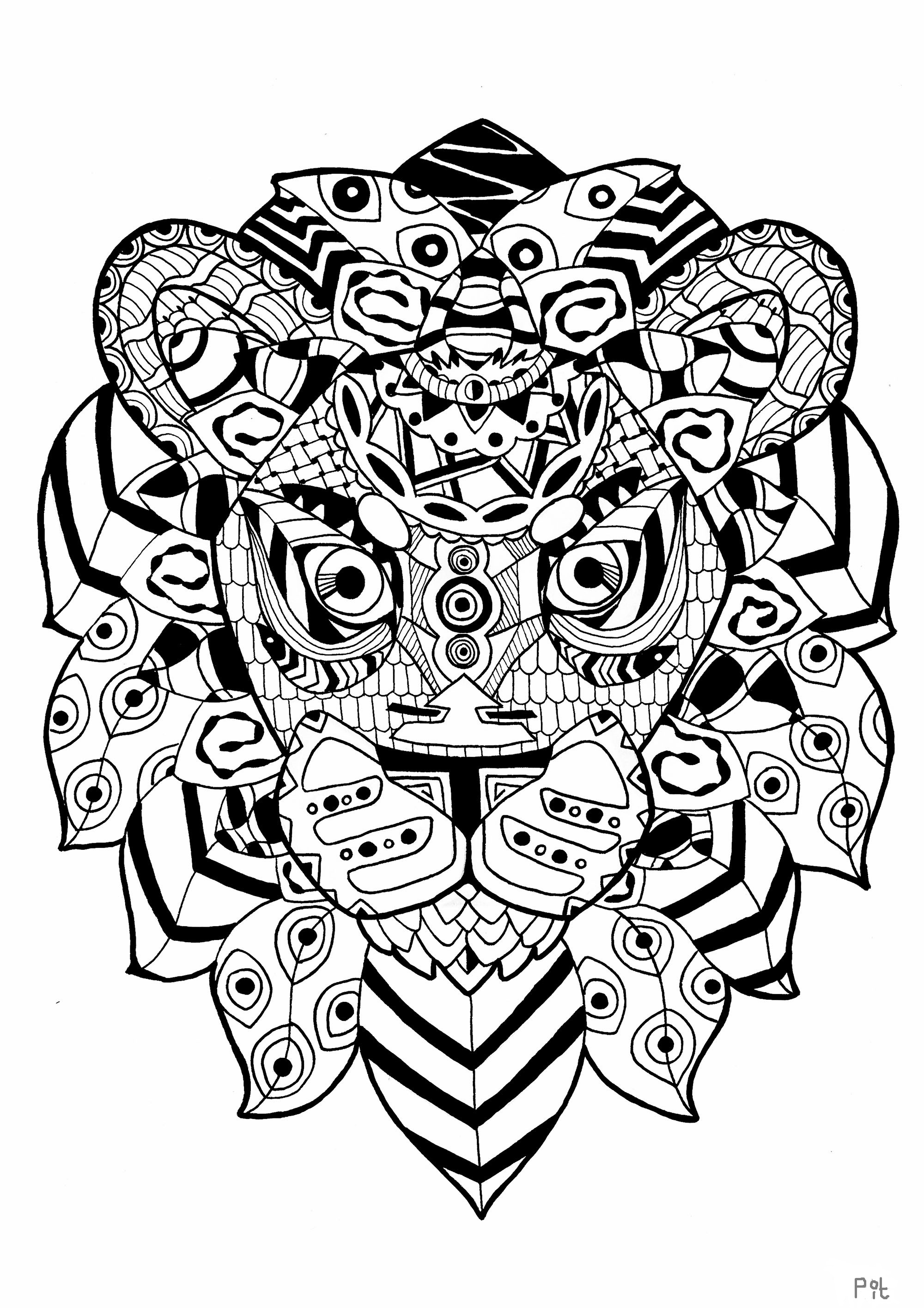 lion coloring pages for adults - image=animals coloring page adult zentangle lion 1