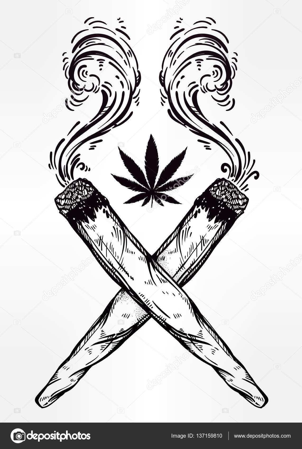 lips coloring page - stock illustration two crossed weed joints with