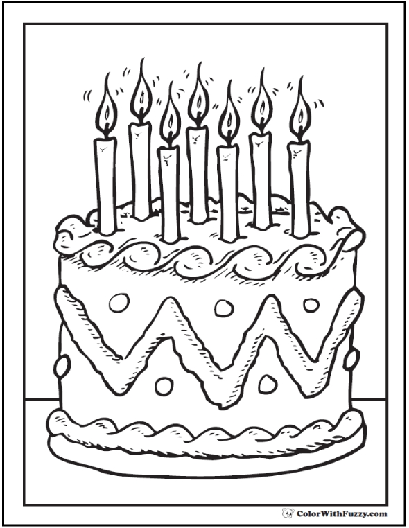 little boy coloring pages - birthday cake coloring page