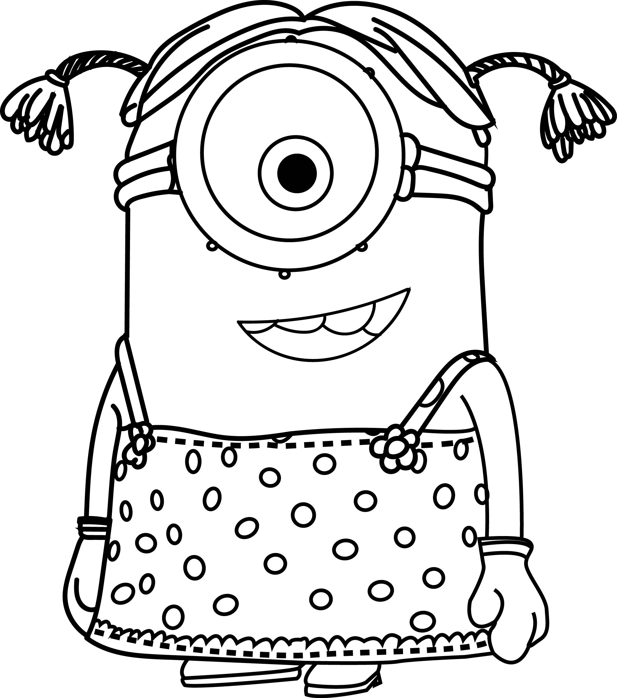 little girl coloring pages - cartoons minions little girl coloring page