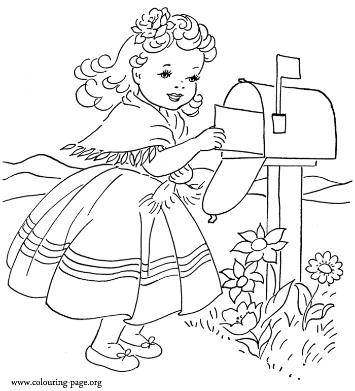 Little girl coloring pages 680 cute little girl sending love letter coloring page