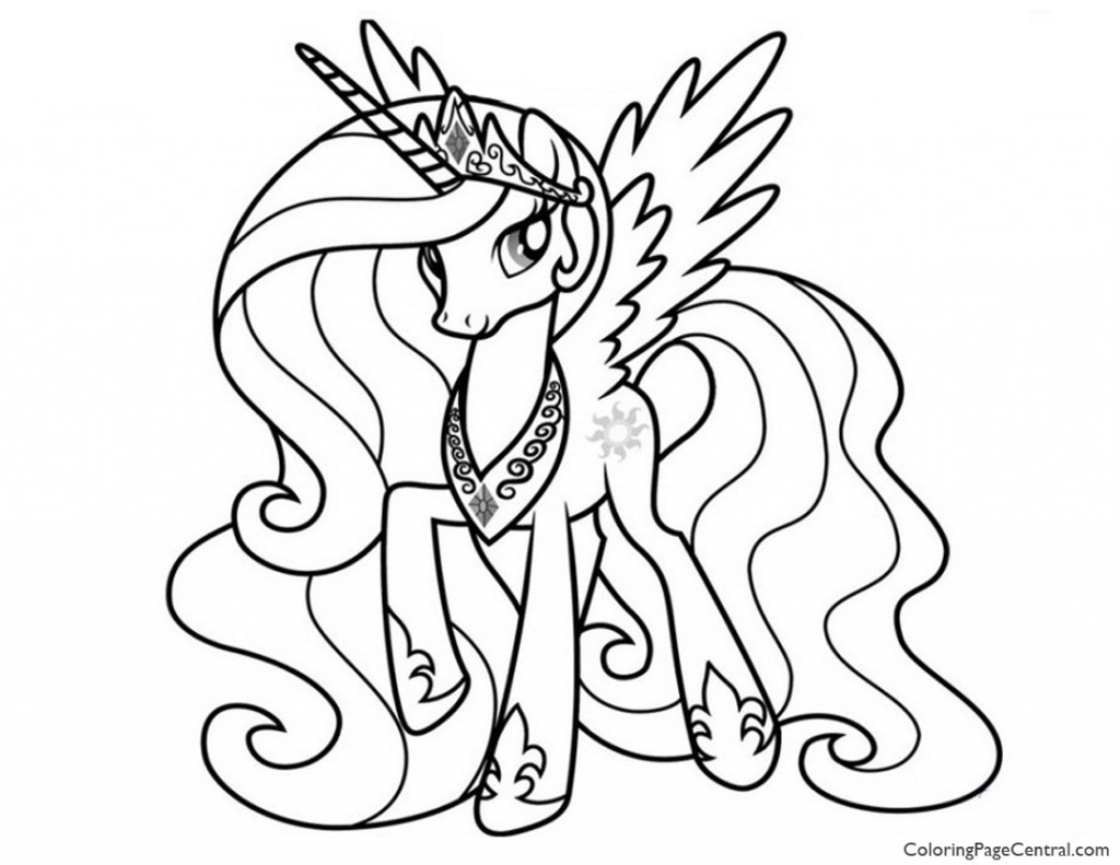 little pony coloring pages - my little pony princess celestia 02 coloring page
