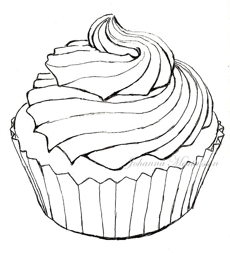 lollipop coloring page - Cupcake Lineart