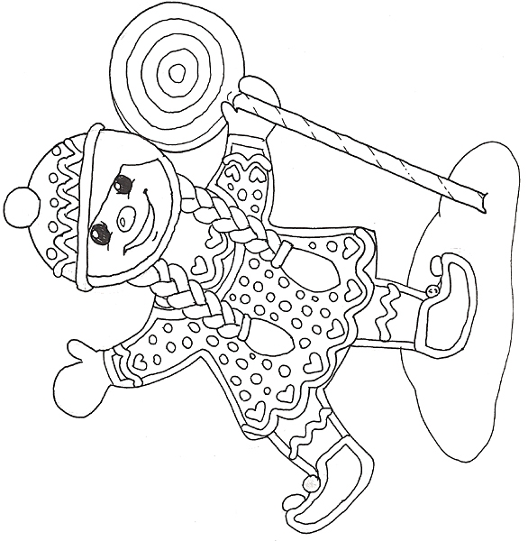 lollipop coloring page - gingerbread mural girl with lipop