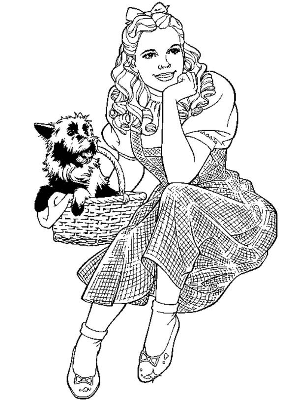 lorax coloring pages - dorothy and her pet toto in the wizard of oz coloring page
