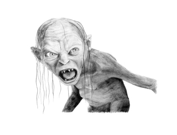 lord of the rings coloring pages - dessin au crayon gollum