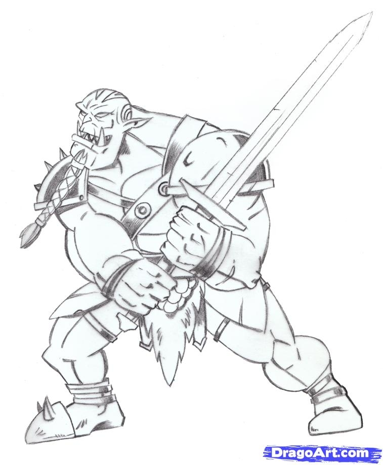 lord of the rings coloring pages - how to draw an orc