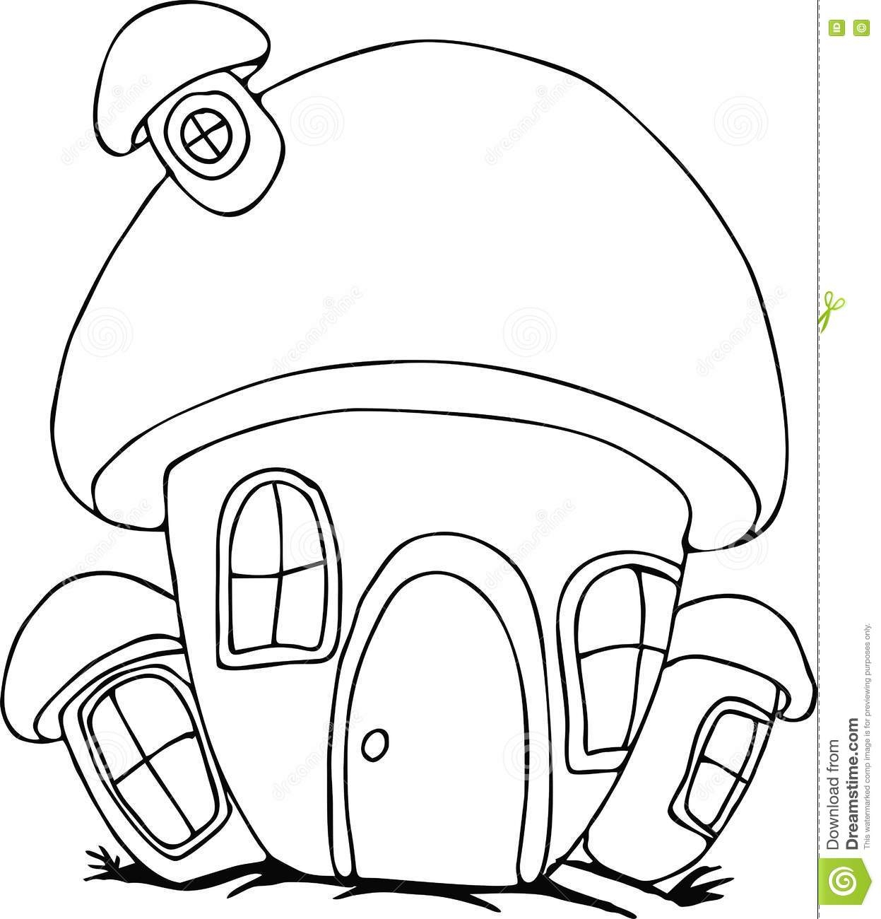 Loud House Coloring Pages - Doodle Mushroom House Cartoon Stock Vector Image