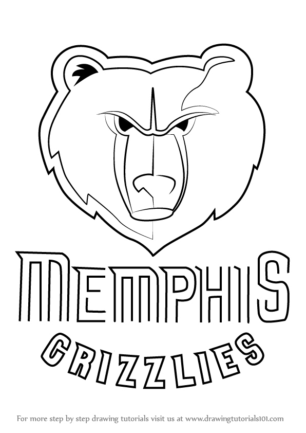 loud house coloring pages - how to draw memphis grizzlies logo step by step