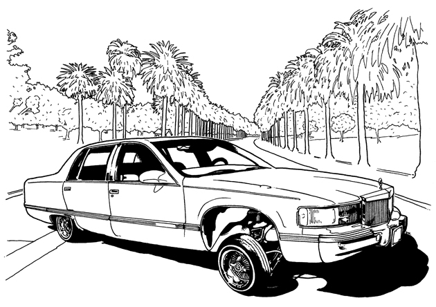 lowrider coloring pages - lowrider trucks