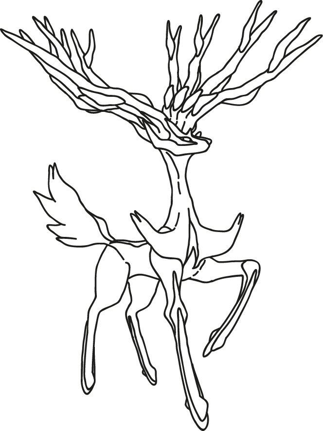 lucario coloring page - Black And White Xerneas