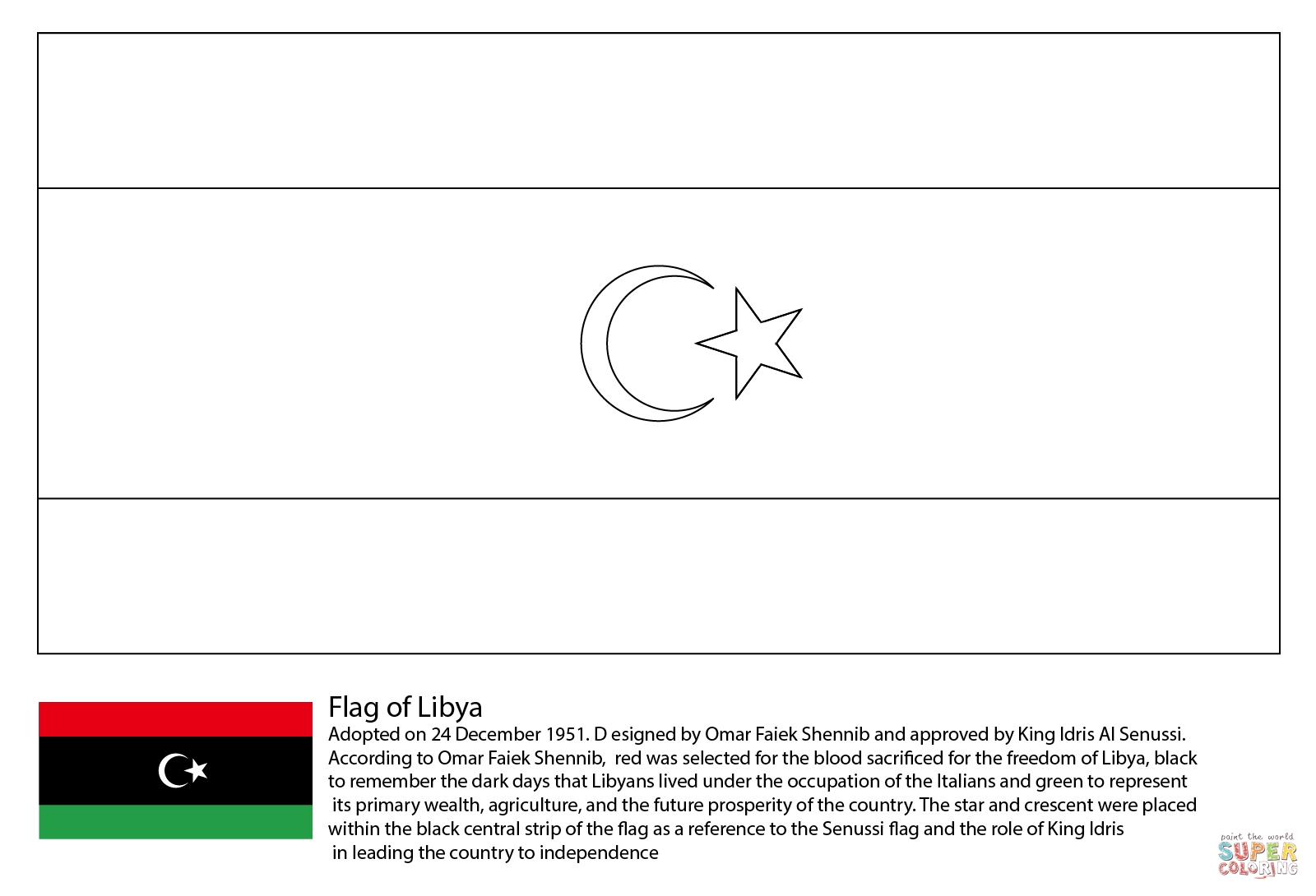 madagascar coloring pages - flag of libya
