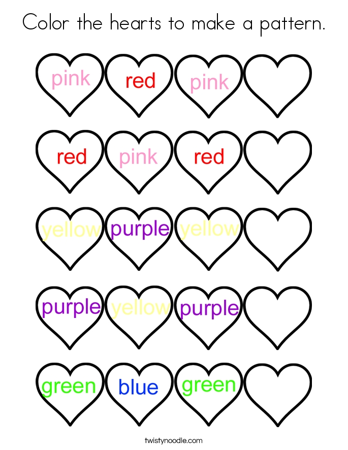 make a coloring page - color the hearts to make a pattern coloring page