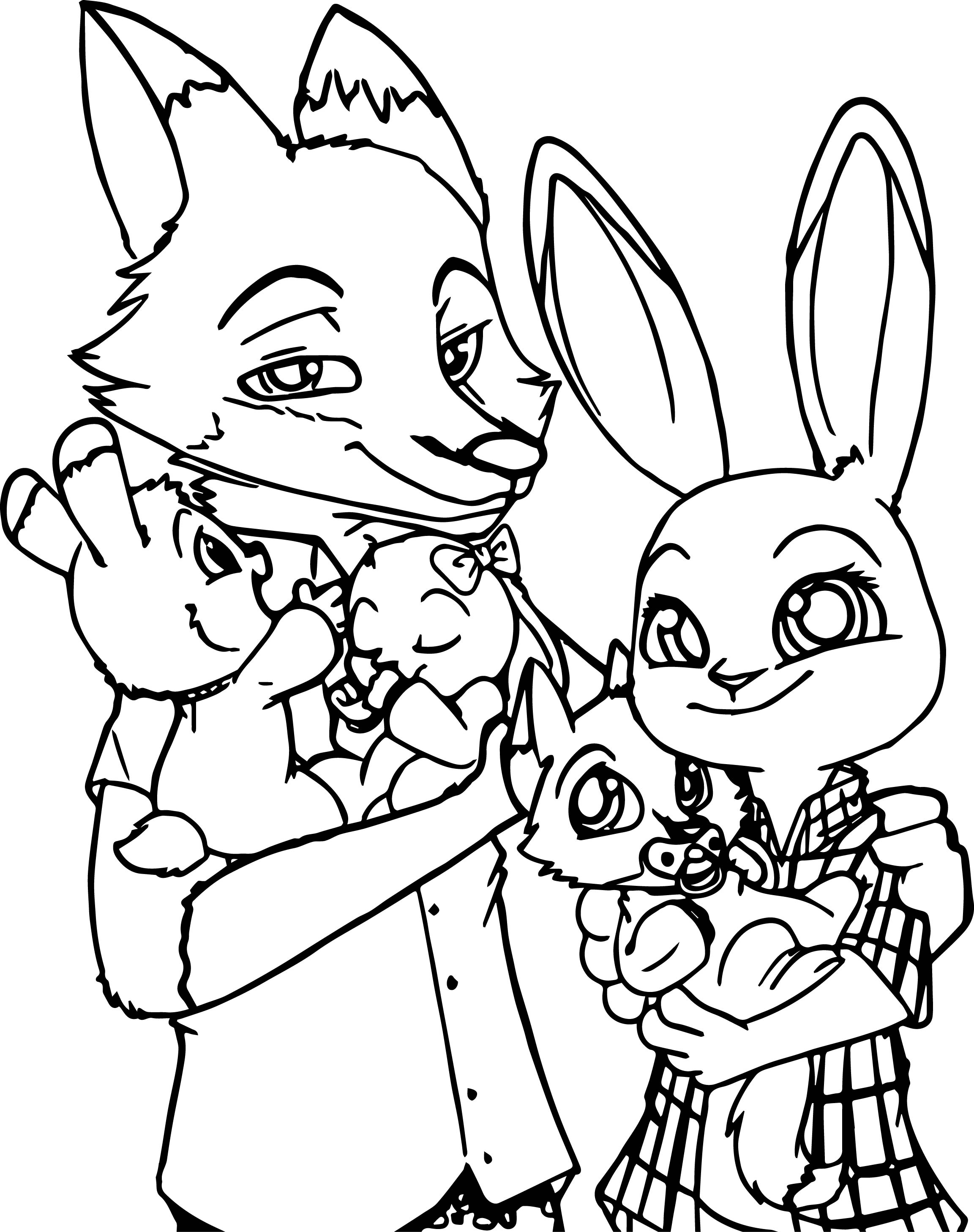 make your own coloring pages from photos - zootopia bunny and fox family coloring page