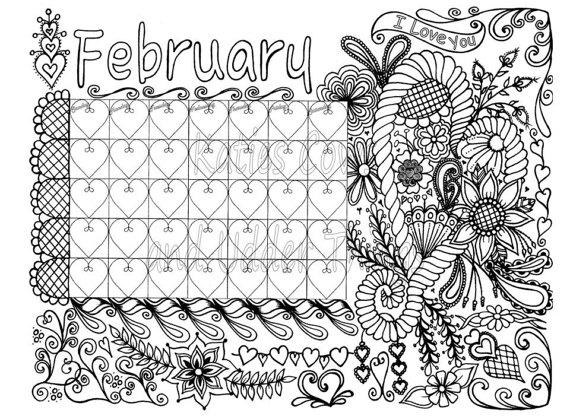 make your own coloring pages with your name on it - february doodled calendar coloring page
