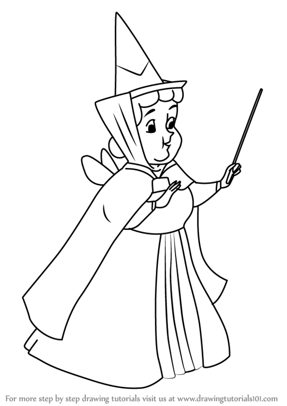 maleficent coloring pages - how to draw flora from sleeping beauty