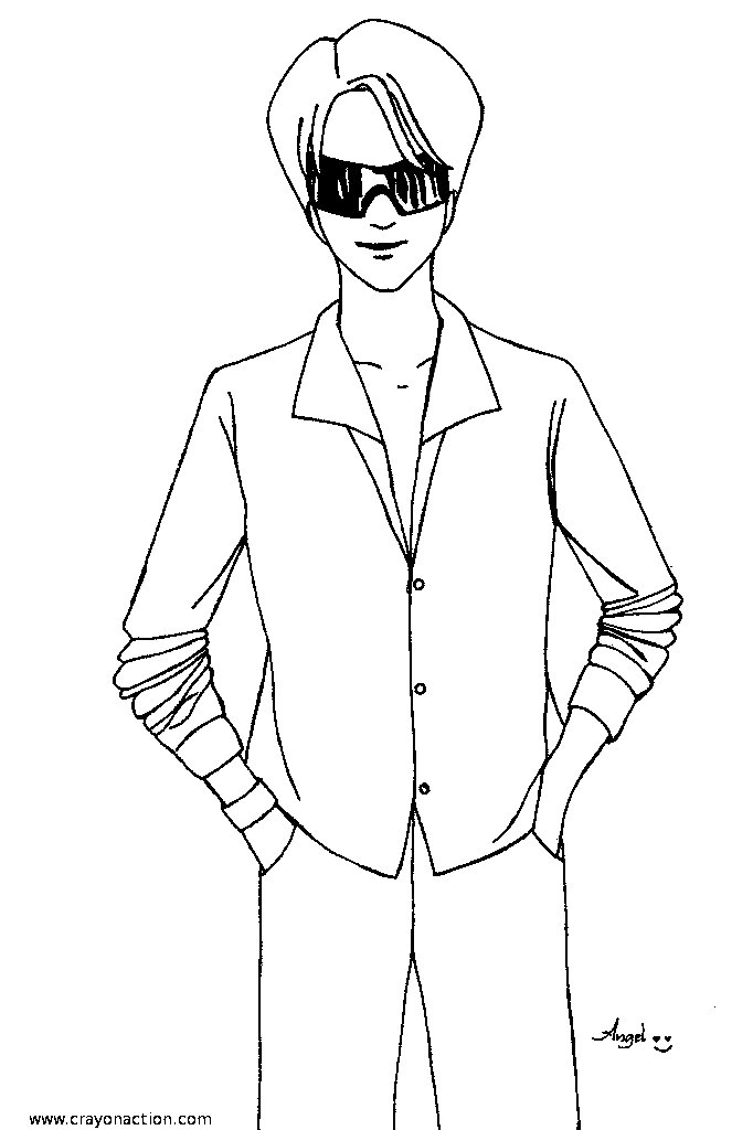 man coloring pages - fashion man coloring page