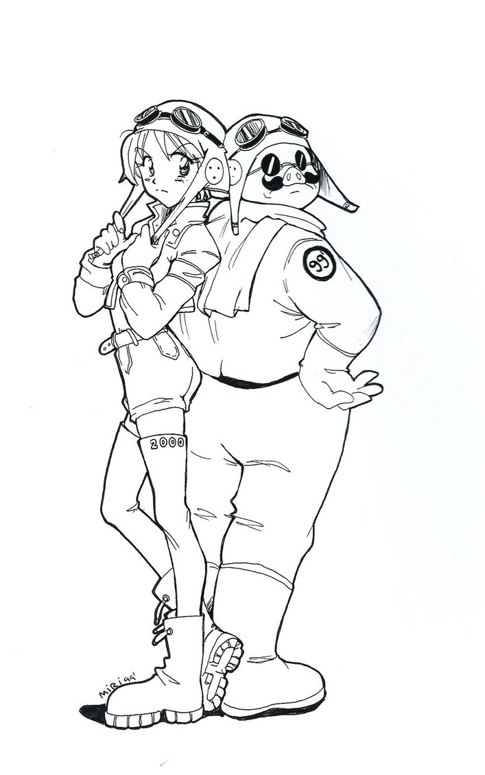 manga coloring pages - Porco Rosso