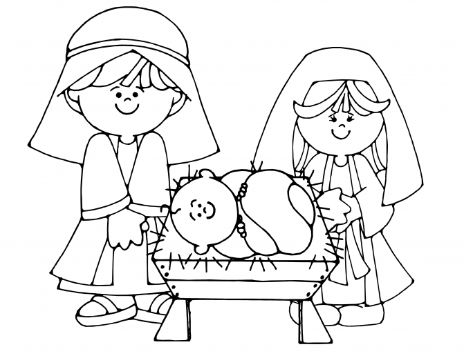 manger coloring page - printable manger scene christmas coloring pages nativity for kids free