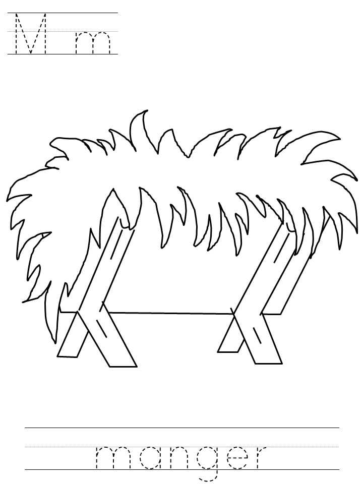 Manger Coloring Page - Nativity Coloring Pages