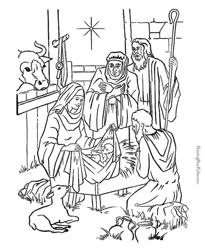 manger coloring page - nativity scene coloring pages