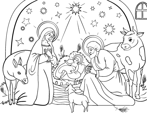 manger coloring page -