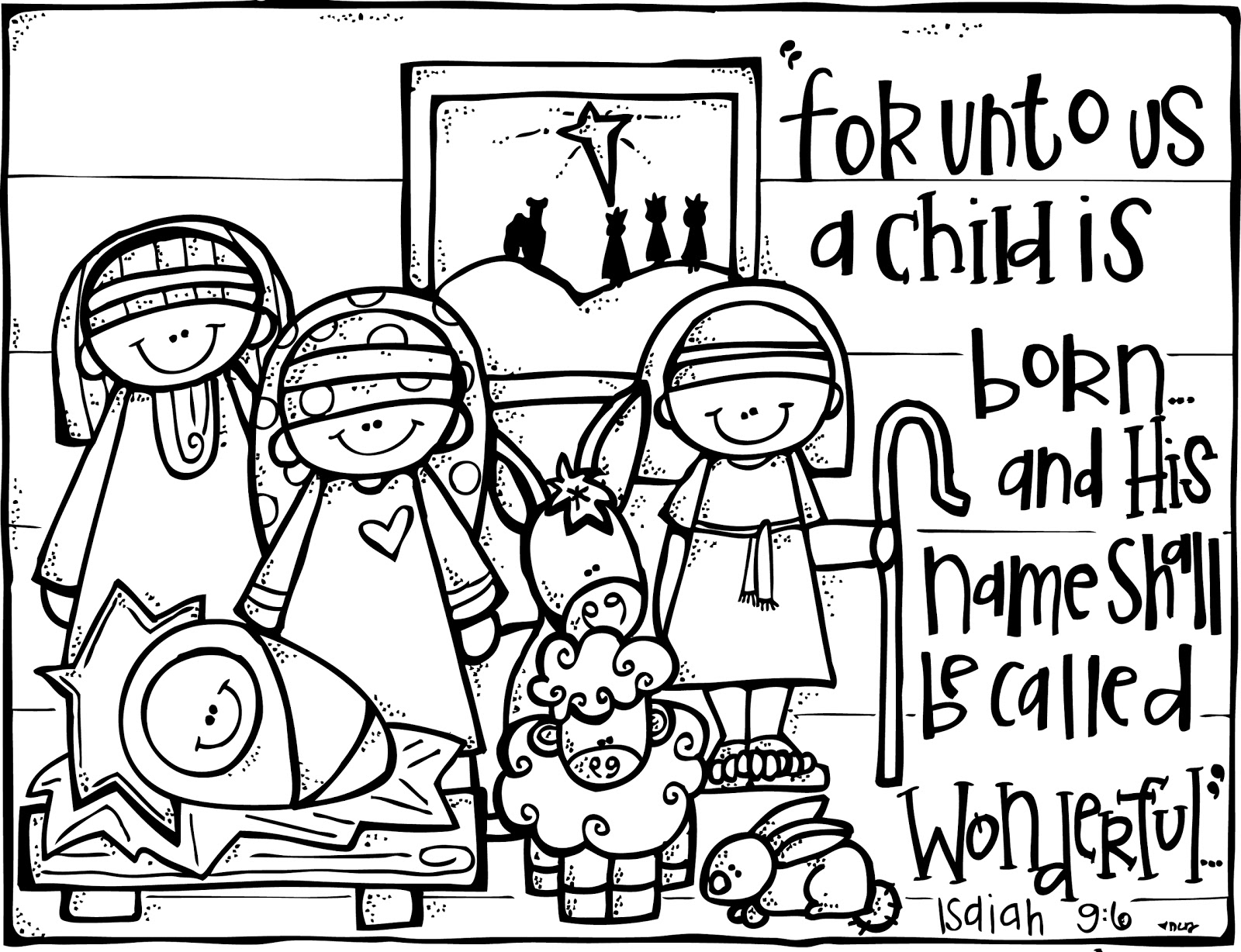 manger scene coloring page - nativity coloring page