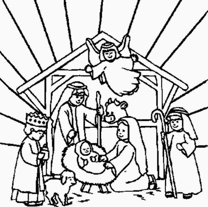 Manger Scene Coloring Page - Nativity Coloring Sheet