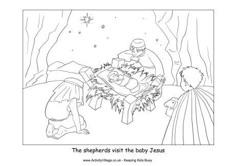 manger scene coloring page - nativity colouring shepherds visit baby jesus