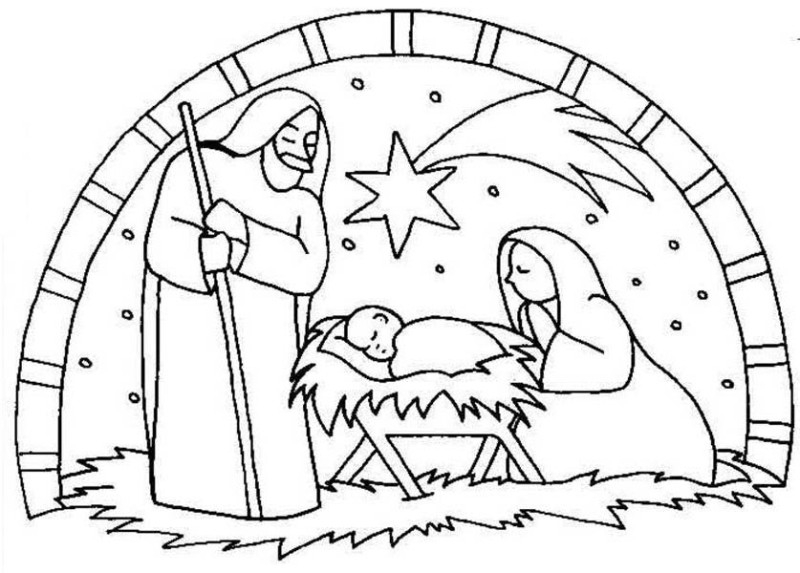 manger scene coloring page - nativity the birth of jesus scene coloring page