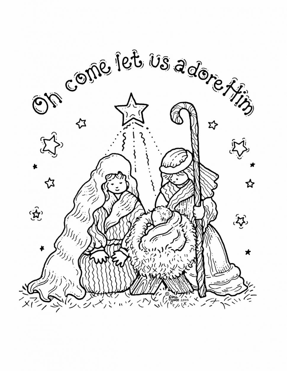 manger scene coloring page - printable nativity scene coloring pages for kids
