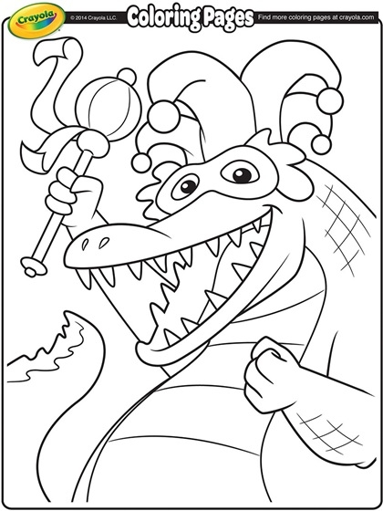 mardi gras coloring pages - mardi gras alligator coloring page