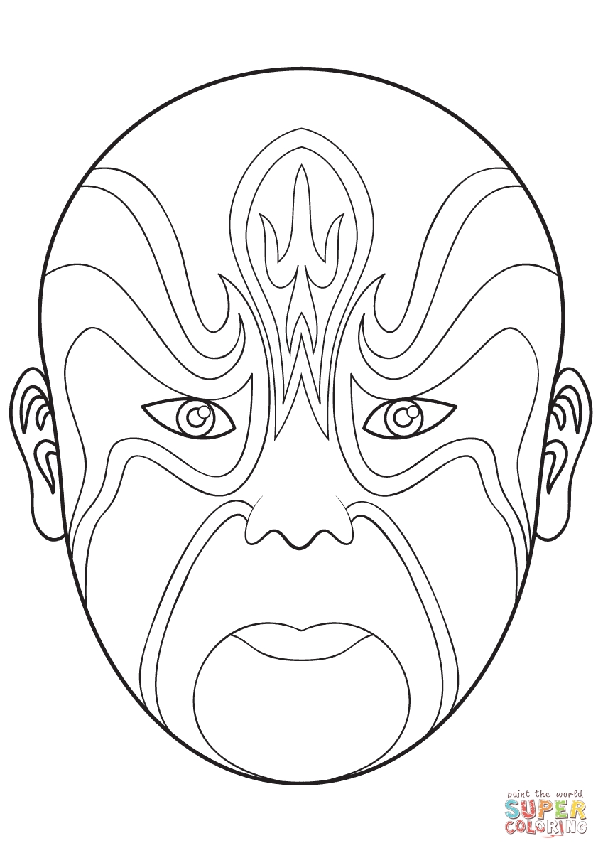 mardi gras mask coloring page - masque dopera chinois 4