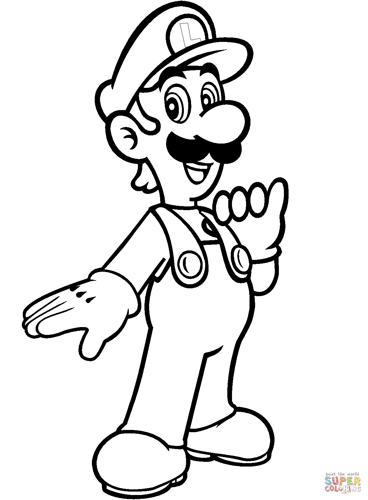 mario and luigi coloring pages - luigi from mario bros