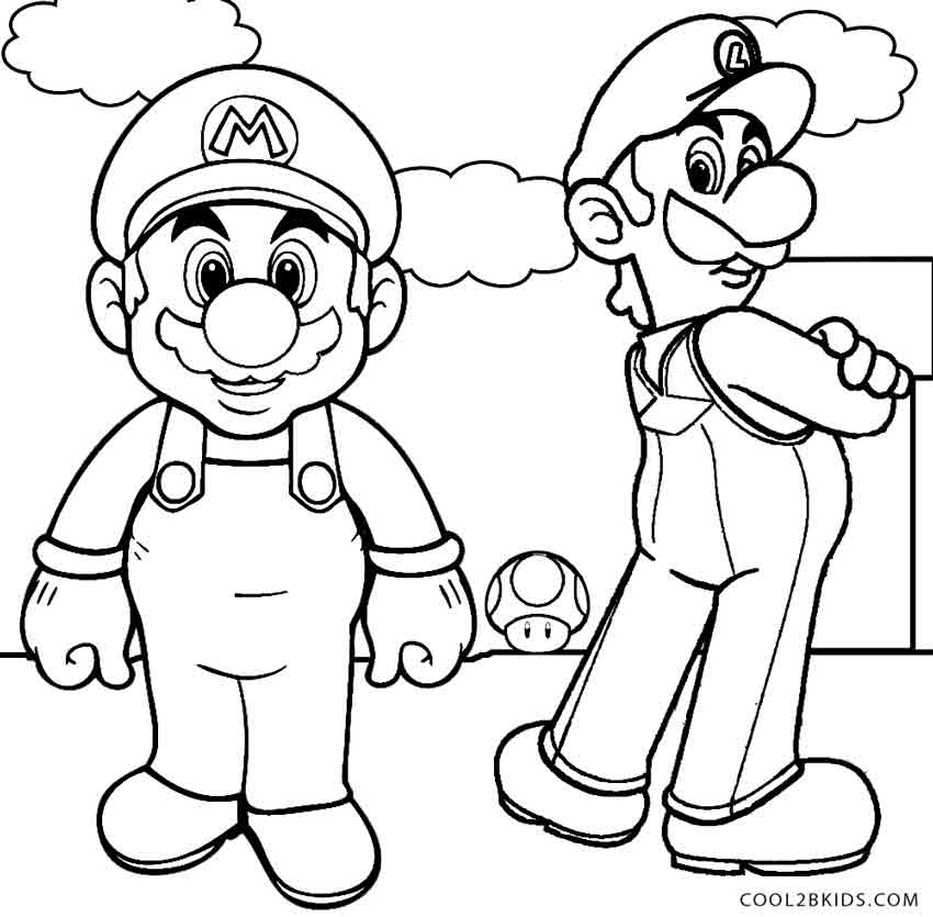 Mario and Luigi Coloring Pages - Printable Luigi Coloring Pages for Kids
