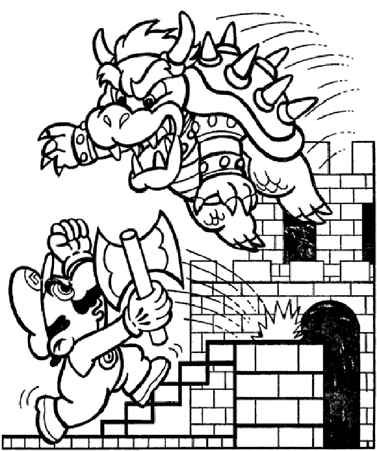 mario brothers coloring pages - mario bros coloring pages