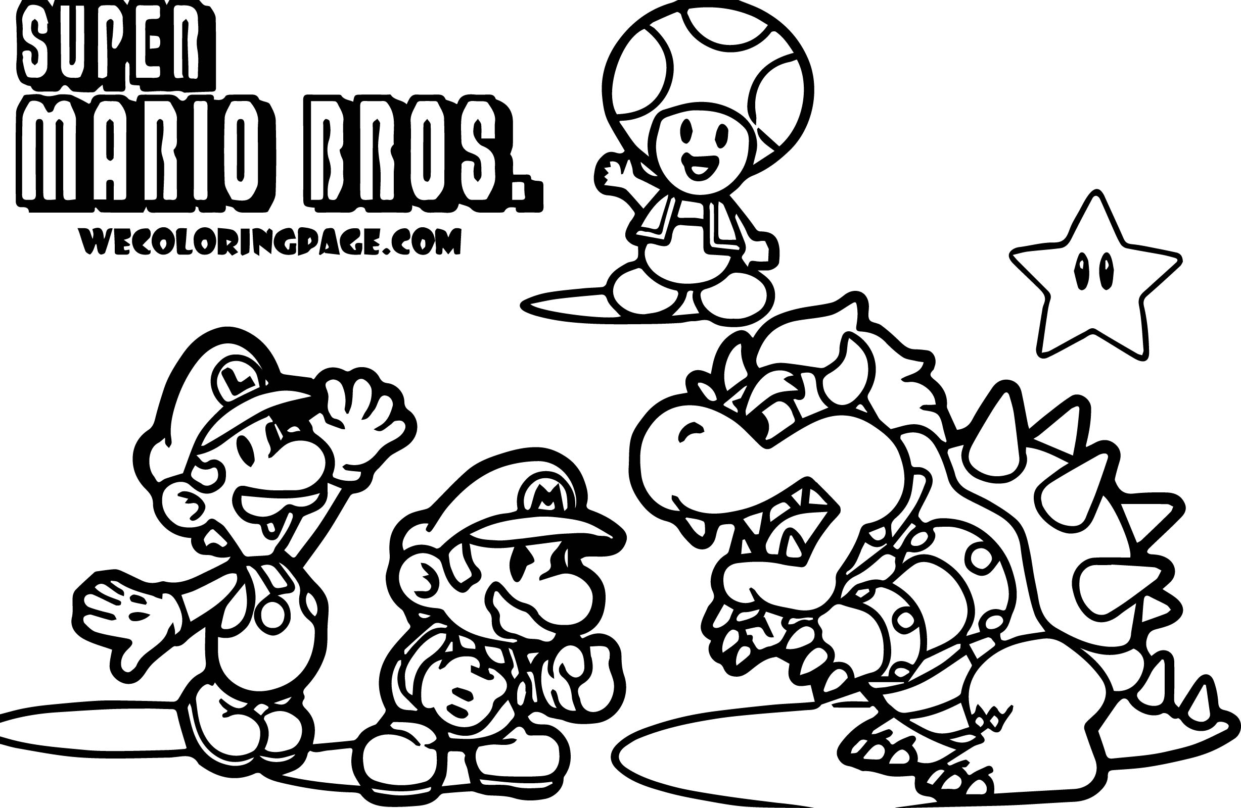 Mario Coloring Pages - Super Mario Pack Scene Super Mario Coloring Page