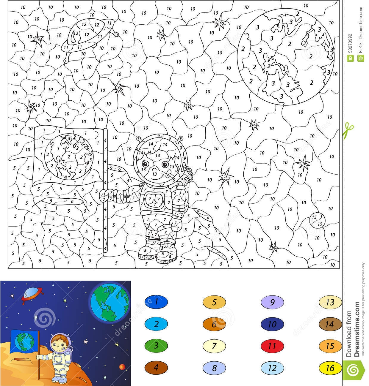 mars coloring pages - stock illustration color number educational game kids astronaut flag earth moon vector illustration schoolchild image