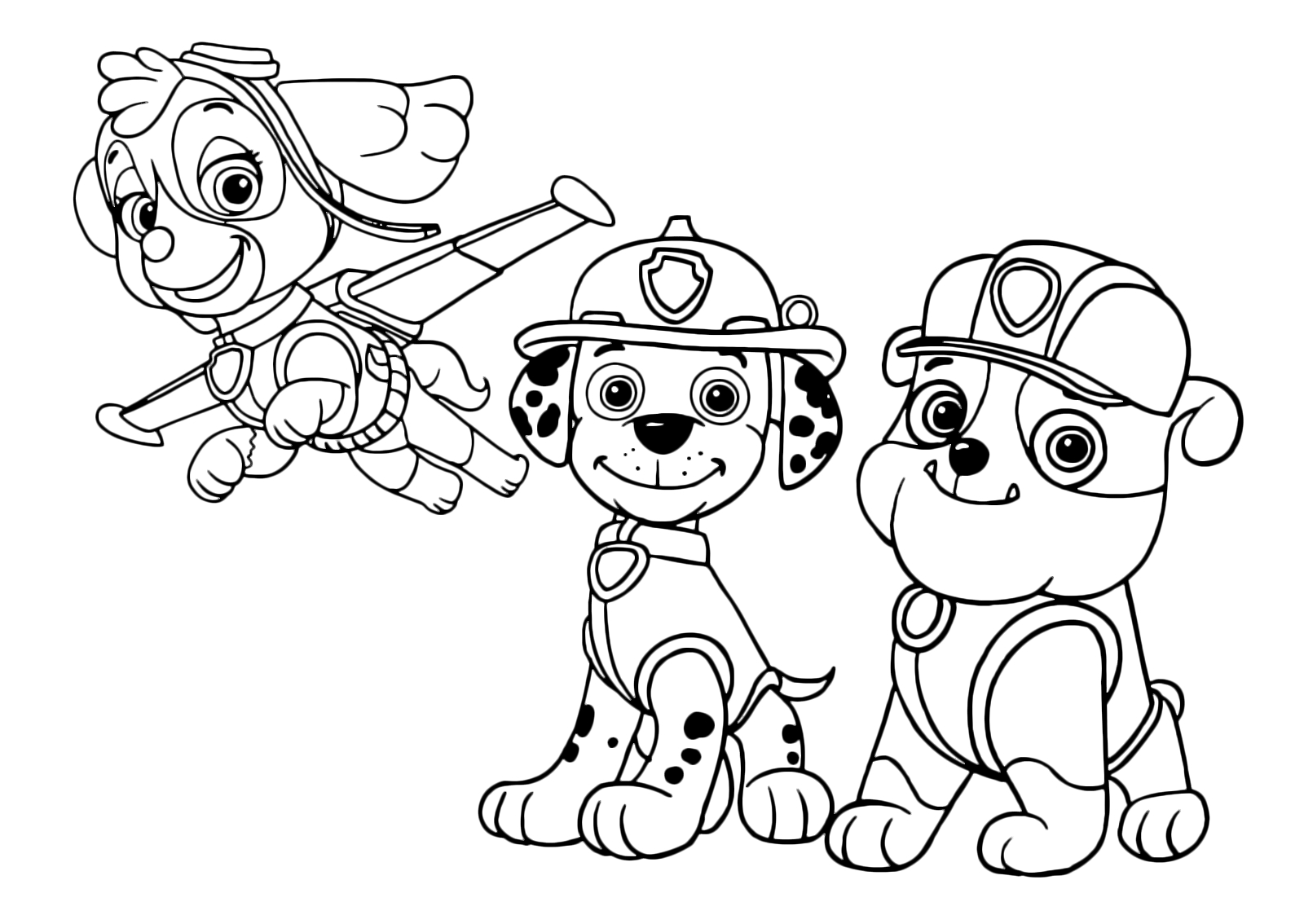 marshall paw patrol coloring page - skye marshall and bubble ready for action
